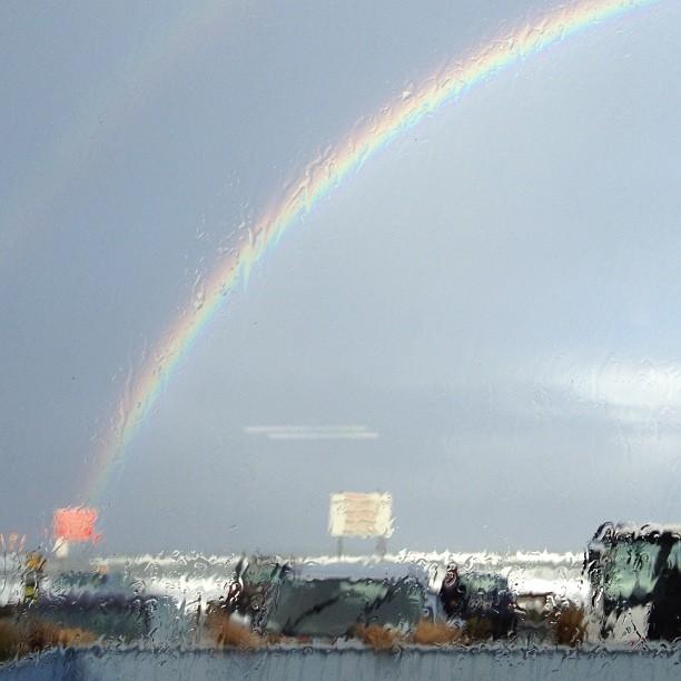 Rainbow through a window