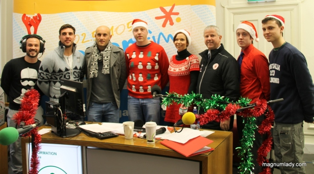 Ocean FM staff with some of Sligo Rovers
