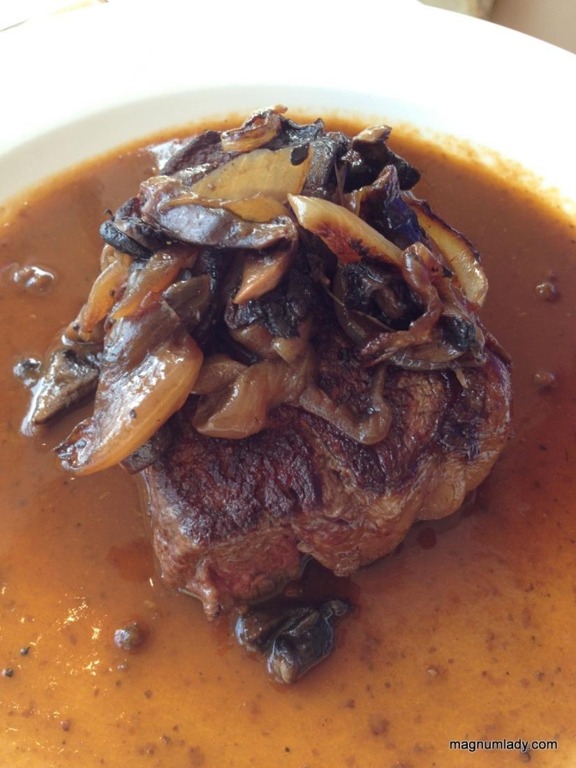 Grilled Hereford Sirloin Steak, Sautéed Onions & Mushrooms