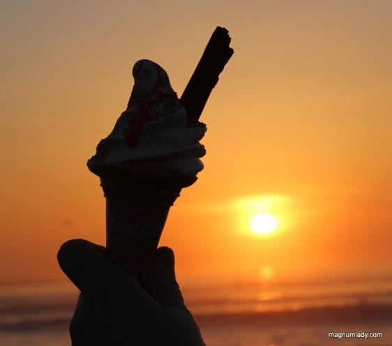 Ice cream at sunset