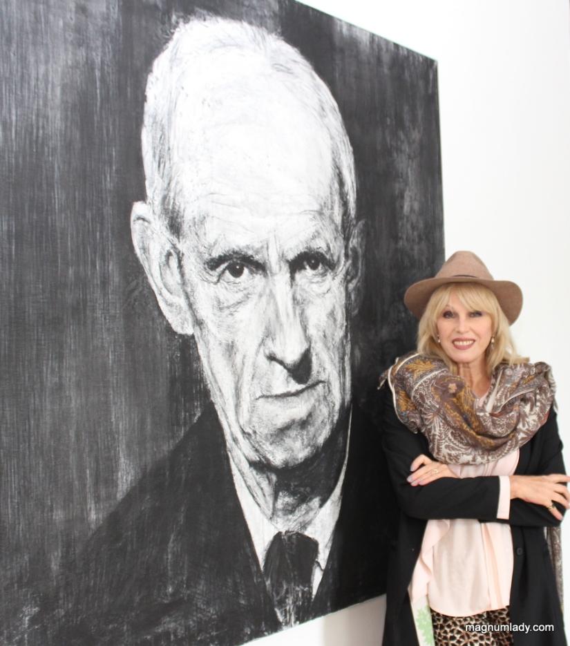 Joanna with Michael Wann's portrait of Jack B Yeats