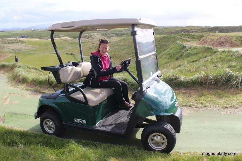 Agatha on the golf buggy