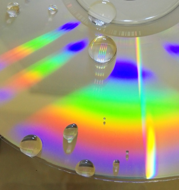 Water droplets on a CD