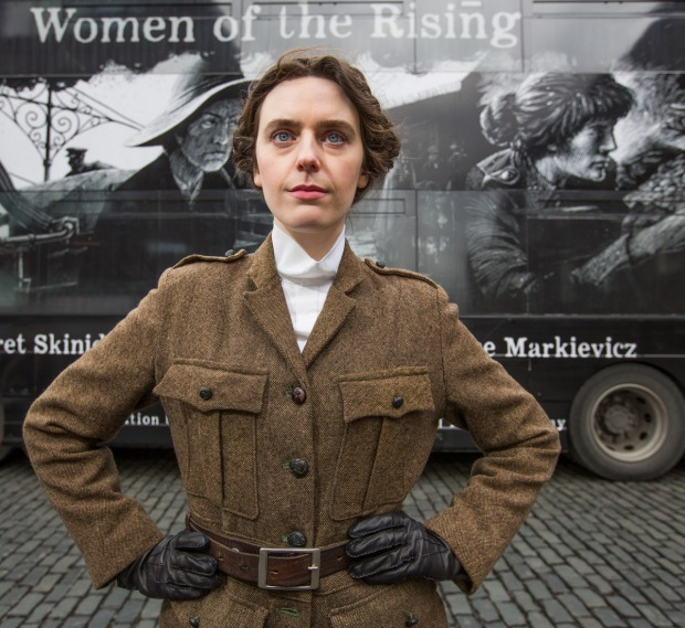 No Repro Fee7-3-2016Picture shows Olwen Jennings as 1916 revolutionary 'Kathleen Lynn', on the eve of International Women's Day, Bus Éireann and the Royal Irish Academy (RIA) today (March 7th 2016) launched a collaborative, nationwide campaign to commemorate leading female figures in the 1916 Rising. 'Women of the Rising: Journeys and Learnings' will feature on 650 buses nationwide, including a 75 seater double decker bus (pictured). Bus Éireann also announced a drive to recruit more female apprentices and enhanced bus services to Dublin for the 1916 Easter celebrations. Pic:Naoise Culhane-no fee