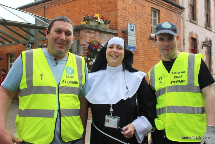 Nun and security guards