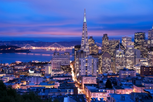 San Francisco cityscape, shot at a cloudy dusk. Photo credit San Francisco Travel Association/Can Balcioglu