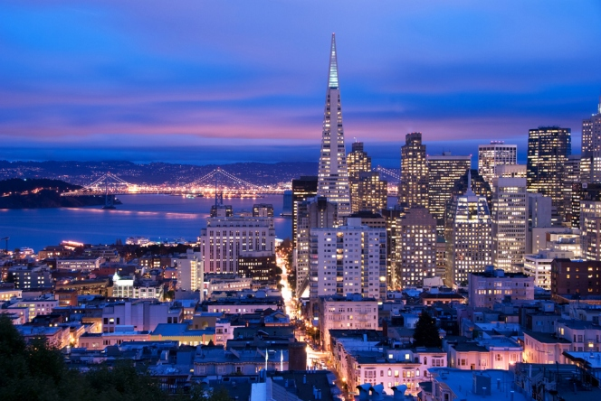 San Francisco cityscape, shot at a cloudy dusk. Photo credit San Francisco Travel Association/Can Balcioglu