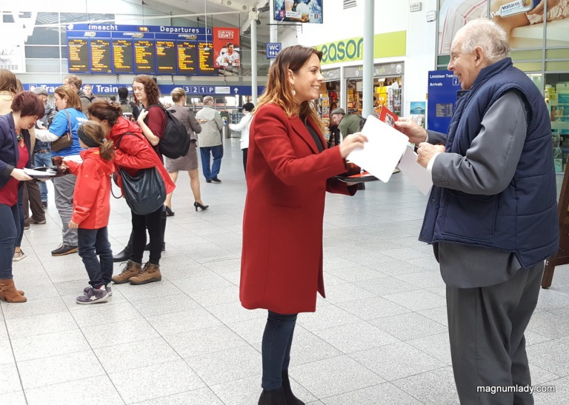 Aisling from WB's handing out leaflets