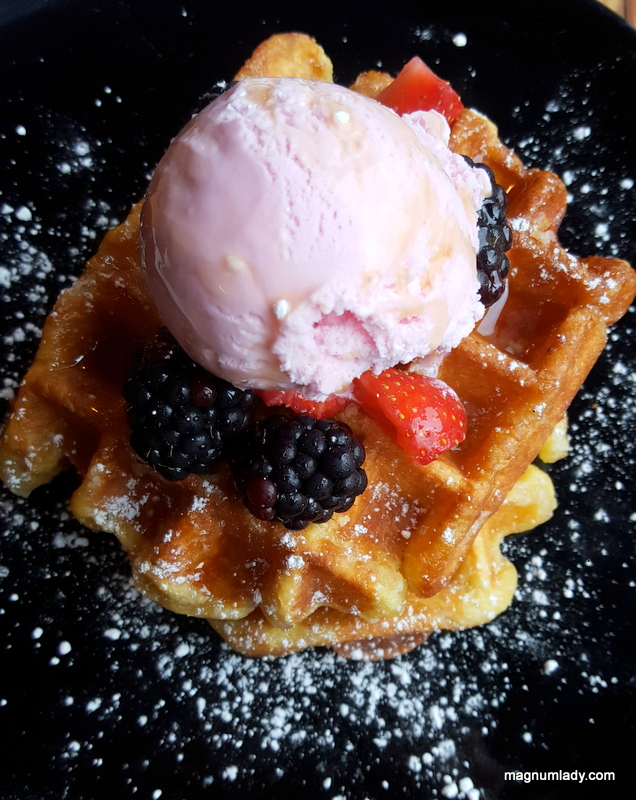 Waffles with fruit and ice cream